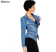 цена на Fashion Army green/Grey jeans jackets women oversized denim jacket punk chaquetas mujer vintage Rivet coats