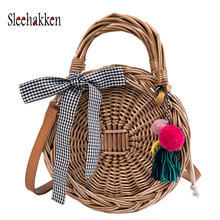 Bamboo Womens Round Straw Bags Beach Tote Bag Hobo Summer Handwoven Purse With Pom Poms