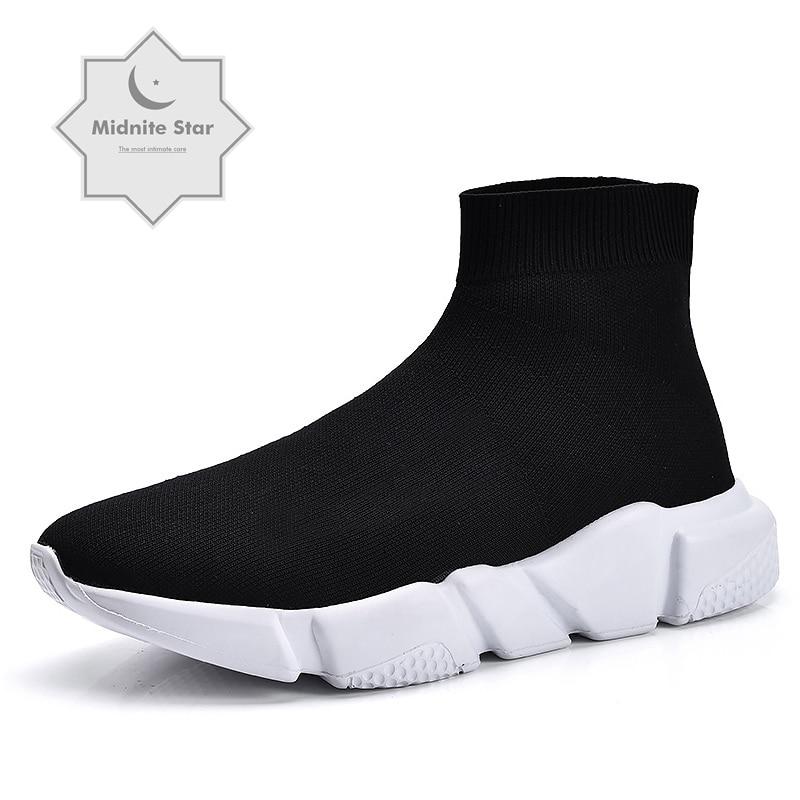 2019 New High Top Casual Shoes couple Fashion Flats Womens Casual Platform Shoes Men Women Sock Walking Footwear zapatos mujer