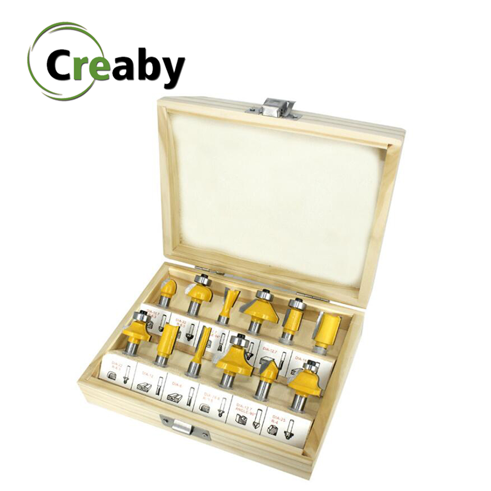 12PCS/SET Woodworking Router Bit Set 8mm Shank Milling Cutter Carbide For Wood Trimming Engraving Carving Cutting Tools