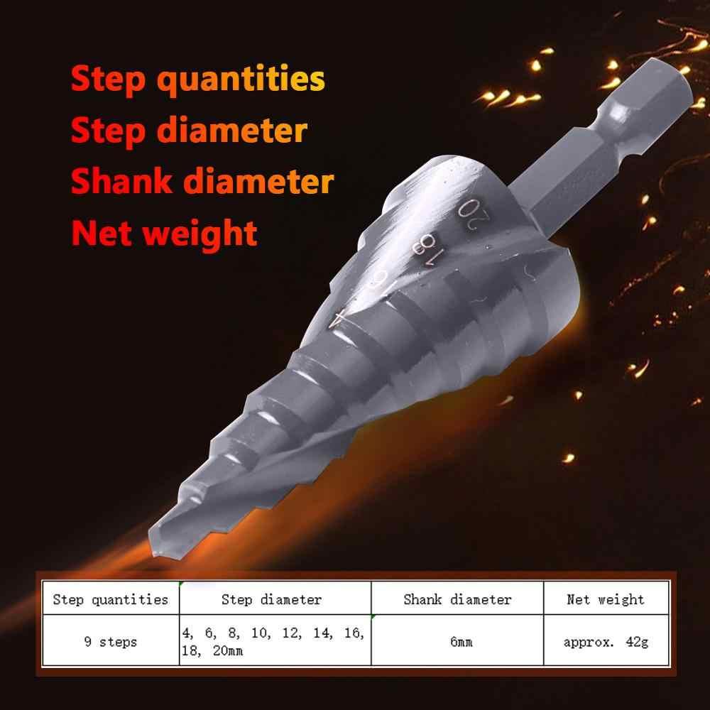 מקצועי 3PCS HSS ספירלת מחורץ נכנס מקדחות 4-12mm, 4-20mm, 4-32mm Hex Shank Nitriding שחור חרוטי קונוס כוח תרגיל