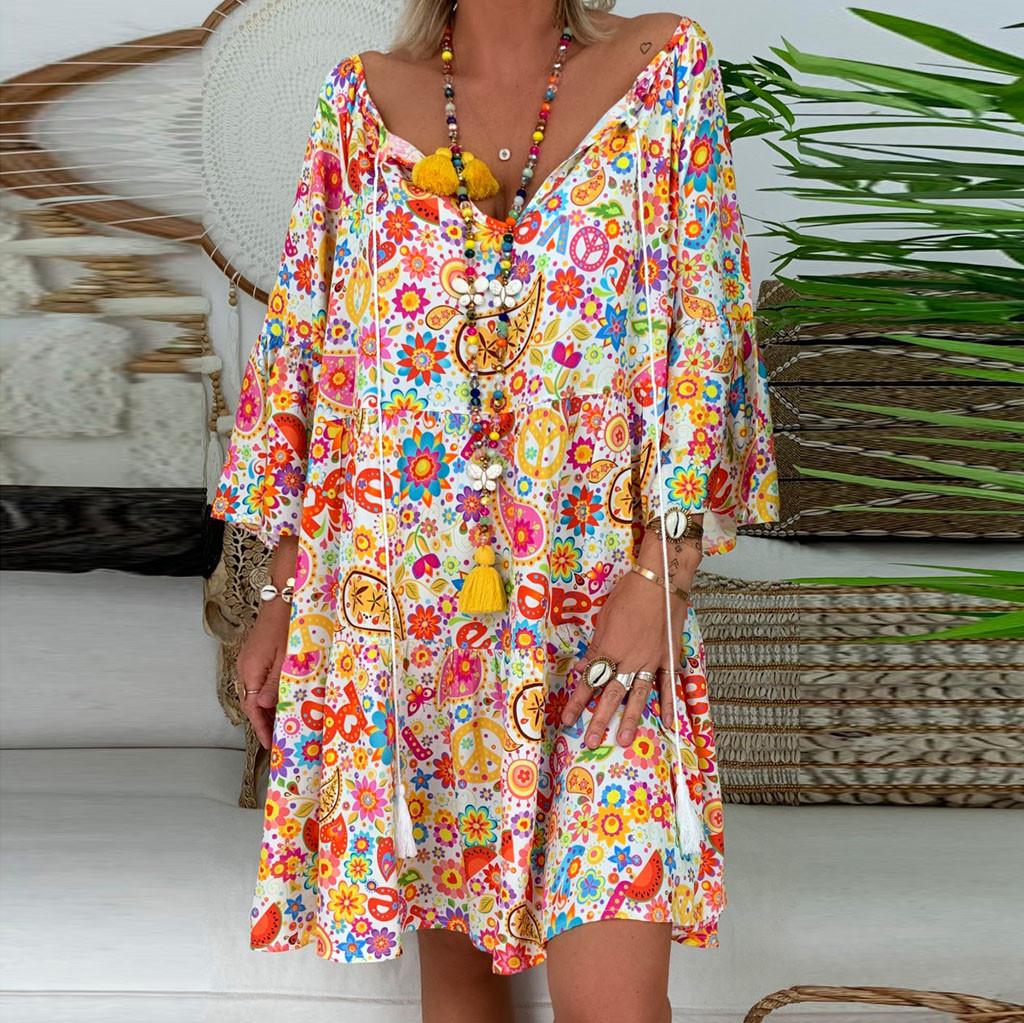 40# Summer V Neck Long Floral Dress For Women Slim 3/4 Sleeve Casual Split Print Dress Female Boho Elegant Maxi Party Vestidos