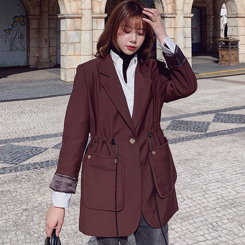 LANMREM 2020 New Spring Fashion Surt For Women  Solid Color Double Pocket Blazer Korean Style Office Lady Drawstring Coat PD579