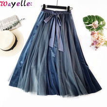 Chic Mesh Tulle Skirt Women Pleated Long Skirt Autumn Winter New Korean Style Big Swing Laceup Elegant High Waisted Skirt Women stylish women s high waisted buttons embellished flare skirt