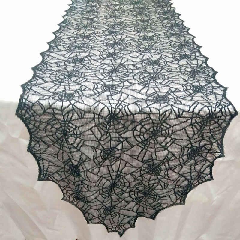 Moda 0 Gastos de envío negro encaje Spiderweb Halloween Festival encaje fiesta mantel decoración de la Mesa
