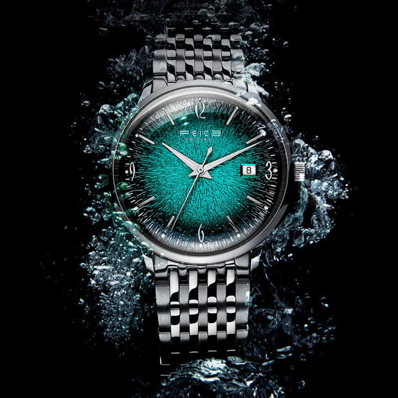 2019 novo ultra-fino automático relógios mecânicos moda tendência fantasma água verde 30 metros de resistência à água aço inoxidável relógio