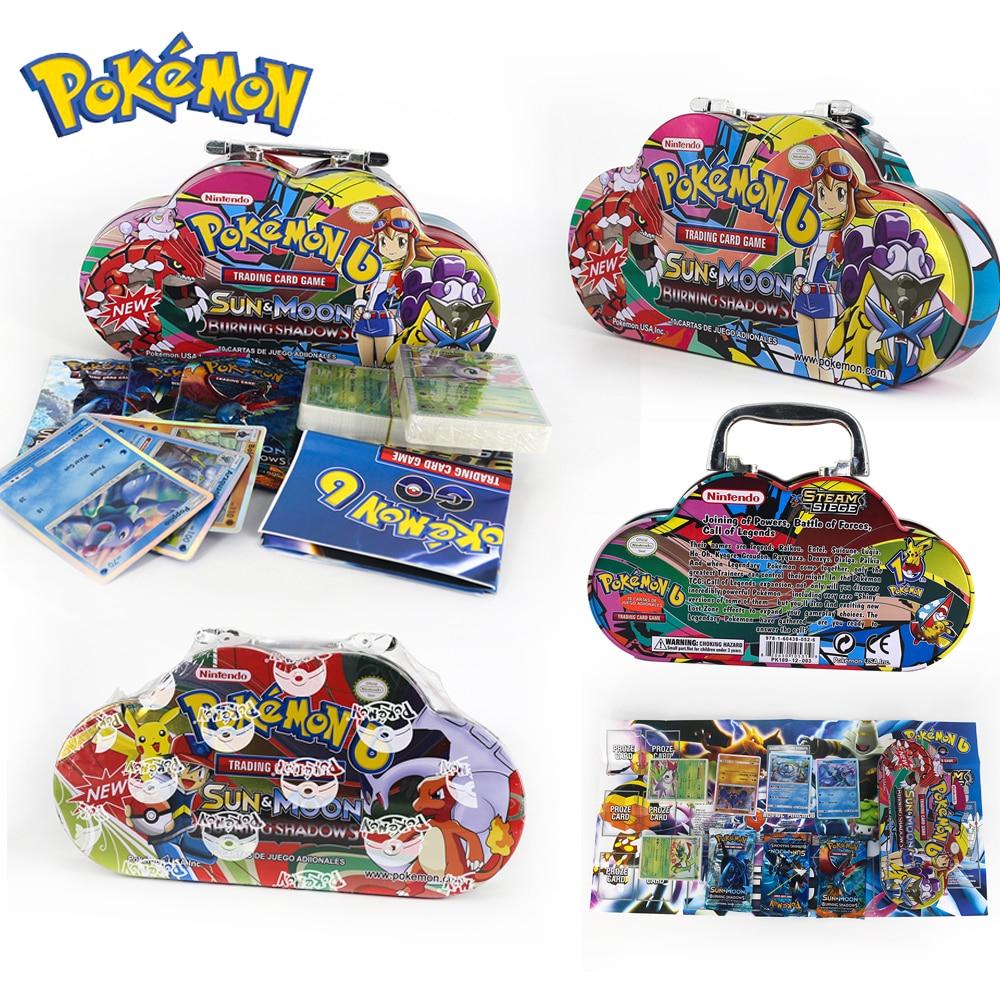 Pokemon GX EX MEGA Cover Flash Card 3D Version SWORD SHIELD SUN&MOON Portable Iron Box Card Collectible Gift Children Toy