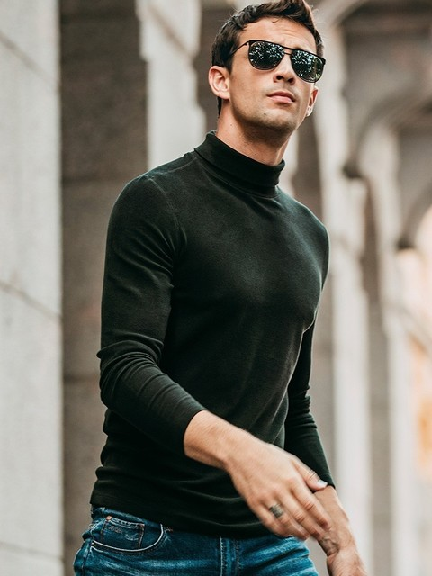 Autumn Men T Shirt Thick Turtleneck Black White Gray Color For Man Casual Long Sleeve Slim T-Shirt New Male Wear Tee Shirt 81155