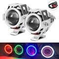 2x125 Вт мото светодиодные фары для мотоцикла  прожектор U7 Hi/Lo  мигающий Ангел глаз и дьявол глаз  светодиодные велосипедные лампы  аксессуары +...