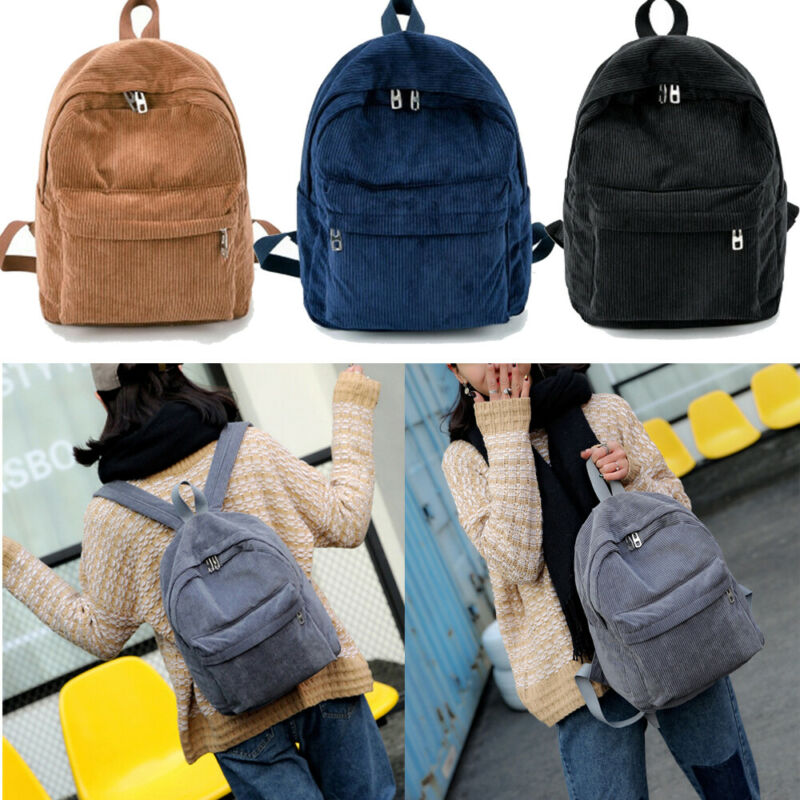 2019 Women Solid Corduroy Backpack Simple Tote School Bags For Teens Shoulder Travel