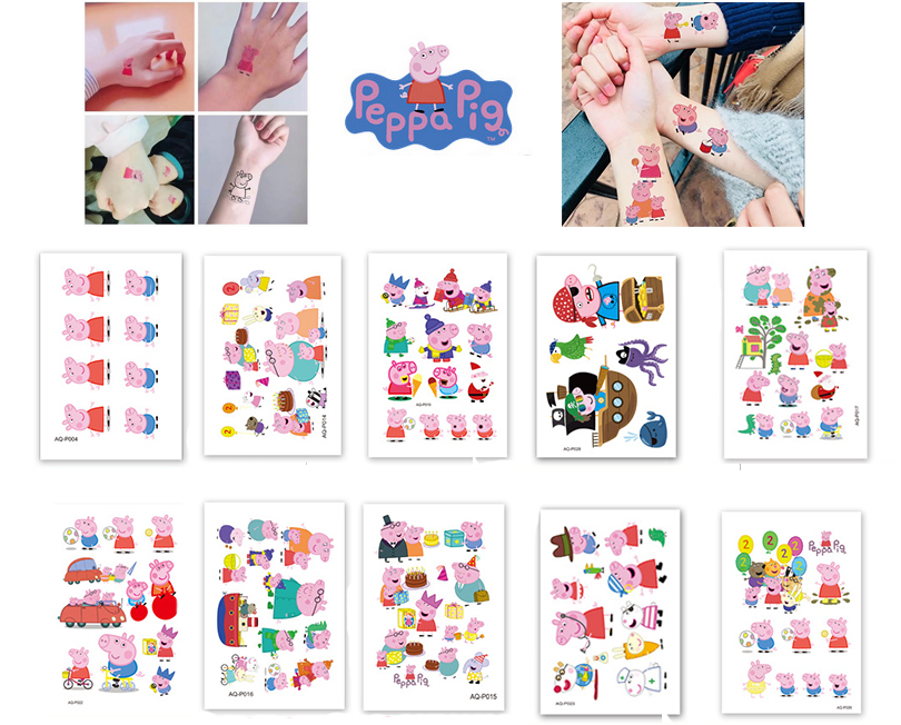 George Peppa Pig Tattoo Stickers Cartoon Toys Set George Family And Friends Waterpoof Kids Children Toys Gifts
