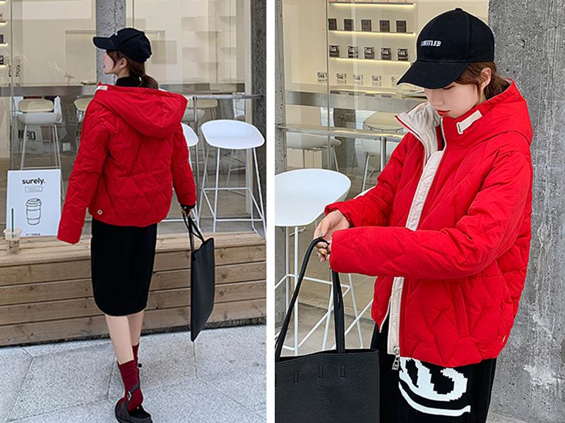 2019 Winter New Short Jacket Women Standing Collar Female Hooded Coat_B3_14