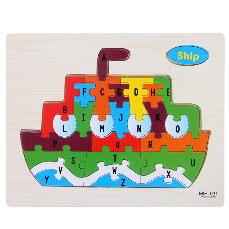 Kids Intelligence Baby Toy Wood Puzzles Cognition English Letter Building Wooden Animal Jigsaw Puzzle Toys for Children Toddler 11