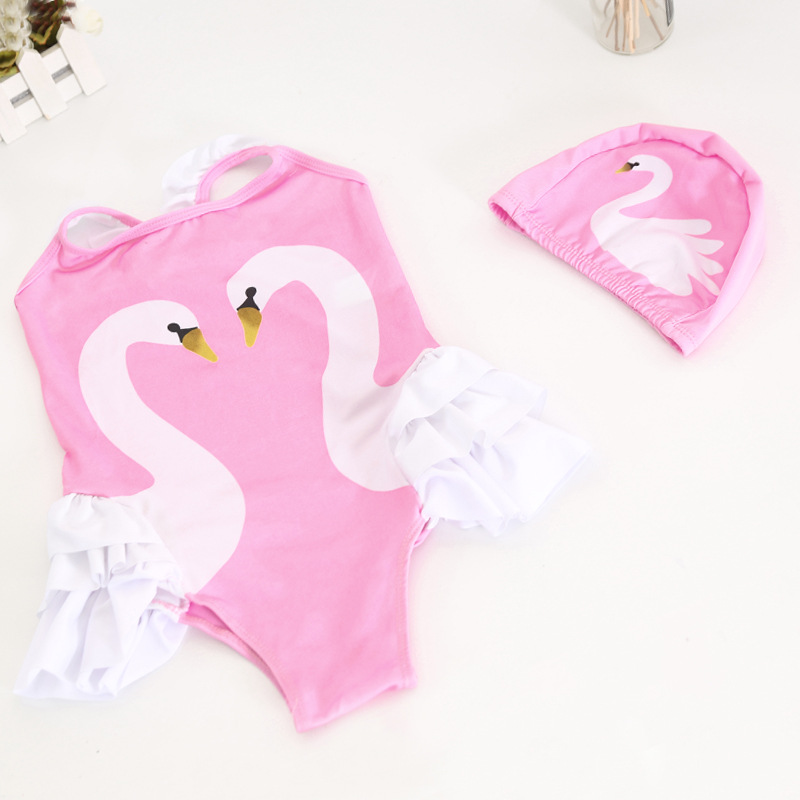 2019 New Products Girls 10-75 Jin Big Boy One-piece Swimming Suit Cartoon Swan Swimming Suit NT121010