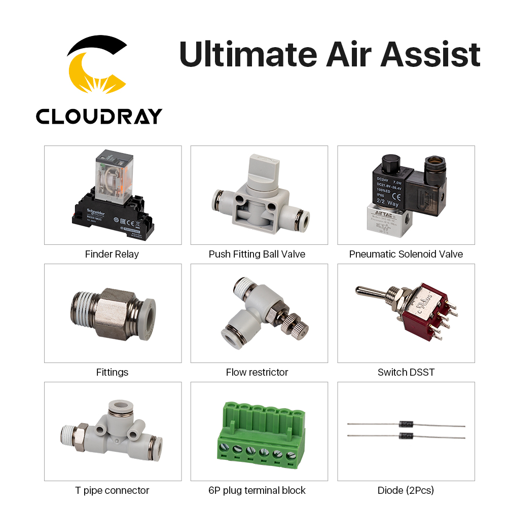 Cloudray Ultimate Air Assiast Set For CO2 Laser Cutting Engraving Machine