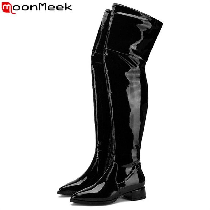 MoonMeek 2020 nuevas botas sobre la rodilla puntiagudas botas de cuero de vaca con cremallera tacones medios botas clásicas de Otoño Invierno para mujer Moda Zapatos Mujer 2019 primavera nuevo Casual clásico Color sólido PU zapatos de cuero mujer Casual blanco zapatos zapatillas