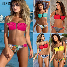 New Sexy Lotus Ruffle Bikini Women Swimsuit Bandeau Swimwear Solid Bathing Suit S-2XL Adjustable Straps Bodysuit Girl Bikini Set ring linked adjustable straps bikini set