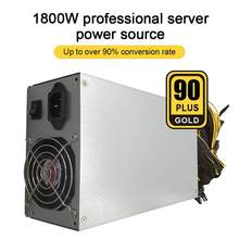 1800W ETH Mining Machine Power Supply PFC Active 180-240V Input 10 X 6pin 95% Efficiency Support Multi-GPU For Bitcoin Mining