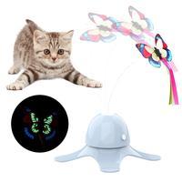 Juguete para gatos electrónico automático, juguete para hacer ejercicio eléctrico rotatorio, palo de mariposa, interactivo
