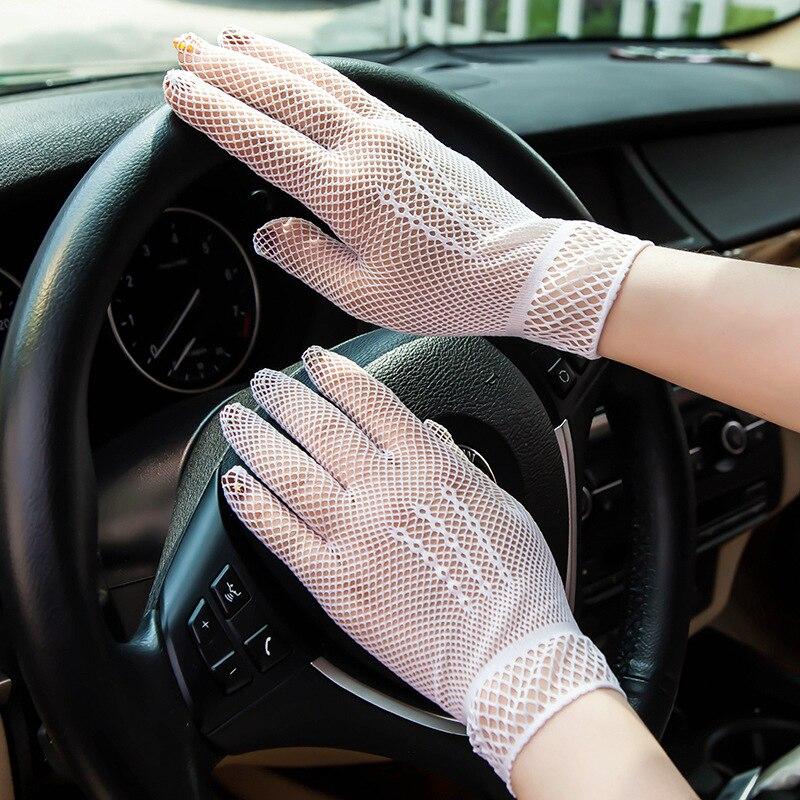 Women's Sexy Summer Hollow Fishing Net Mesh Driving UV-Proof Gloves One Size Black White Ladies Gloves Elegant Wedding Gloves