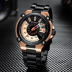 Image 2 - Marka mężczyźni zegarki biznesowe ze stali nierdzewnej CURREN kwarcowy zegarek wojskowy moda przyczynowy mężczyzna zegar Auto data Relogio Homem