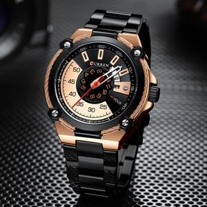 Image 2 - ブランド男性ステンレス鋼ビジネス腕時計currenクォーツ軍事腕時計ファッション因果男性時計自動日付レロジオhomem