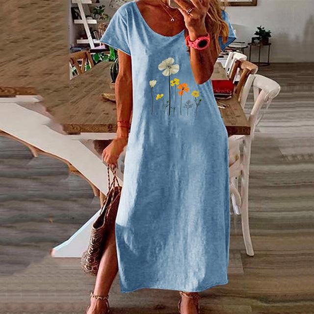 Vintage Butterfly Daisy Print Summer Dress 3