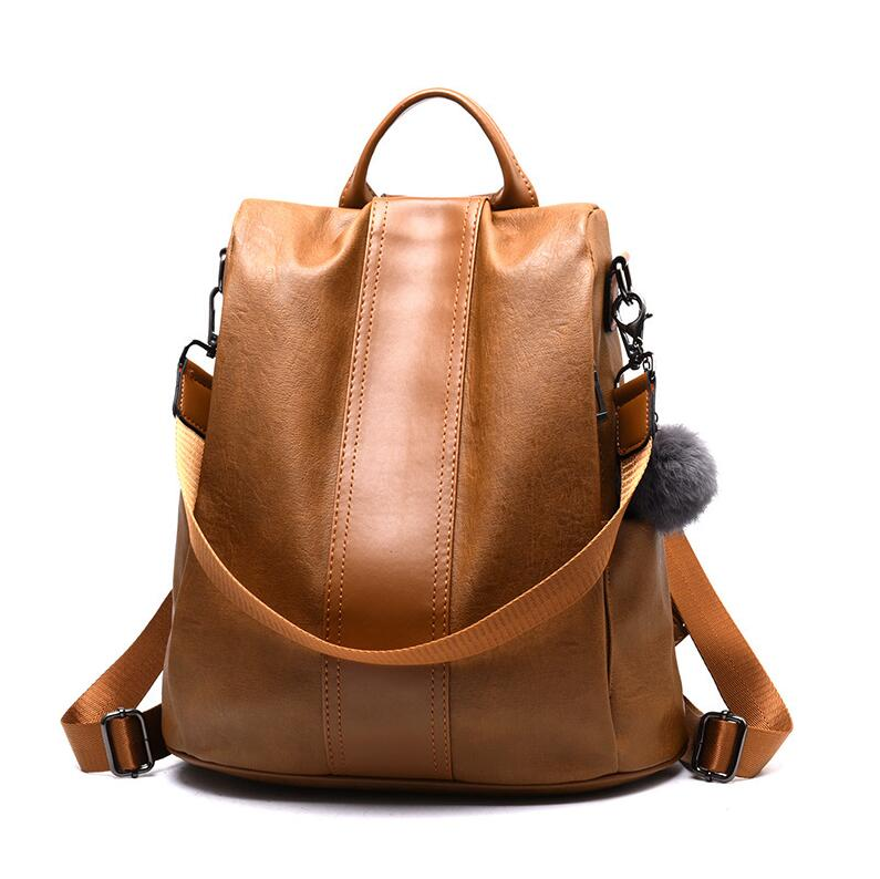 New Women Shoulder Backpack Leather Anti-thief Travel Bag Fashion Large Women Backpack Capacity Hair Ball Hand School Bag