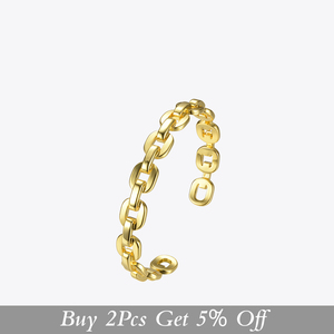 Image 2 - Enfashion Pure Form Small Link Chain Cuff Bracelets Gold Color Brass Bangles For Women Accessories Jewelry Bijoux BF182032
