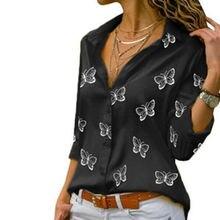 2020 модные с принтом бабочки женская блузка рубашка длинным