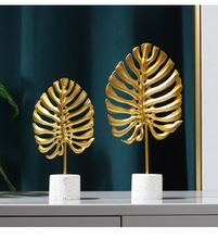 Golden Monstera leaf Model Iron TV cabinet Decor Leaf With Marble Base Console Cabinet decoration
