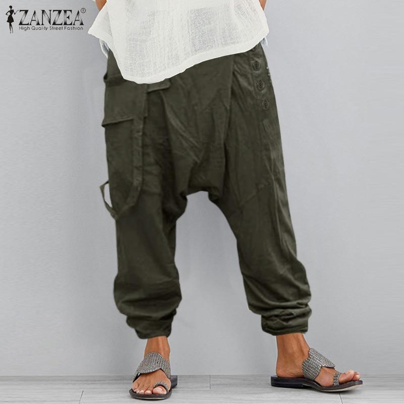Women's Drop Crotch Pants 2021 ZANZEA Causal Trousers Overalls Button Elastic Waist Pantalon Female Palazzo Turnip Oversized 5XL
