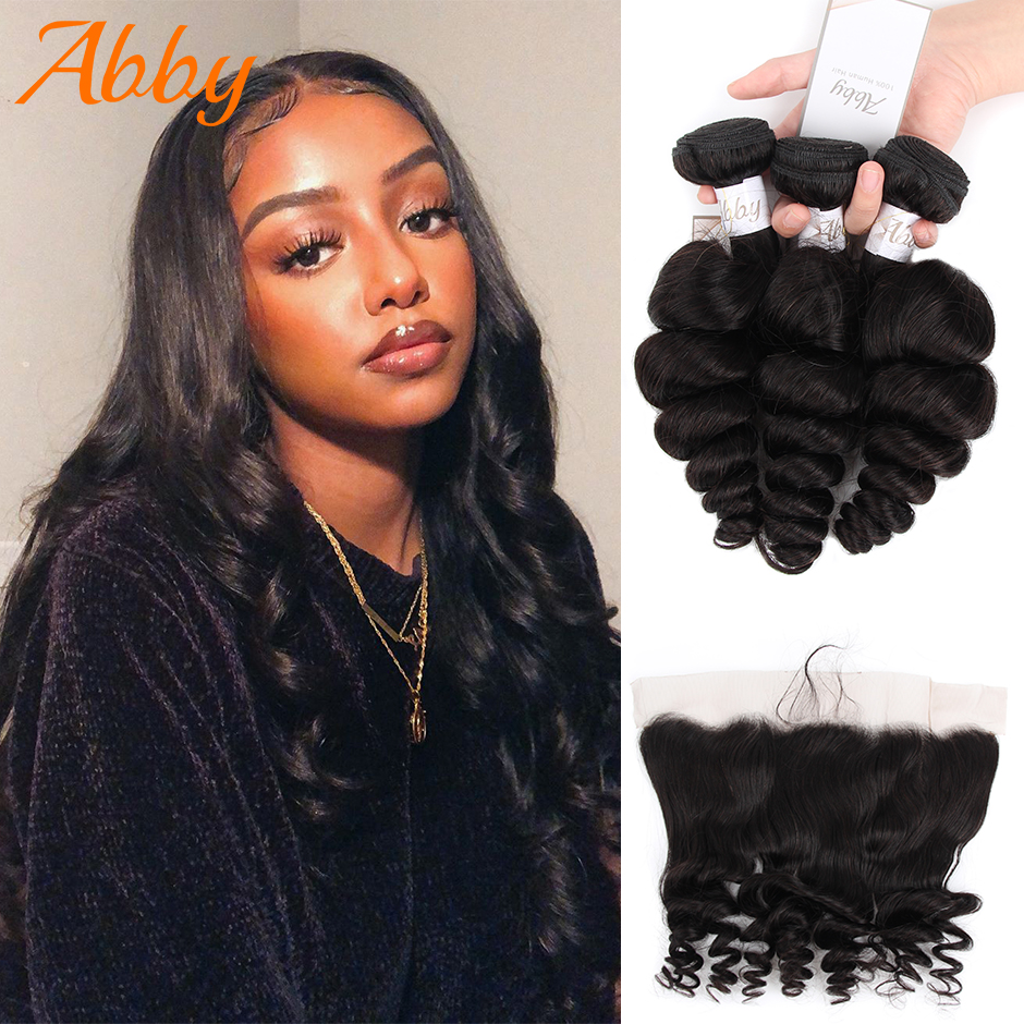 Human Hair Bundles With Frontal Loose Wave Hair Weave 100% Human Hair For Women Indian 3 Or 4 Pcs Bundles With 13x4 Frontal ABBY