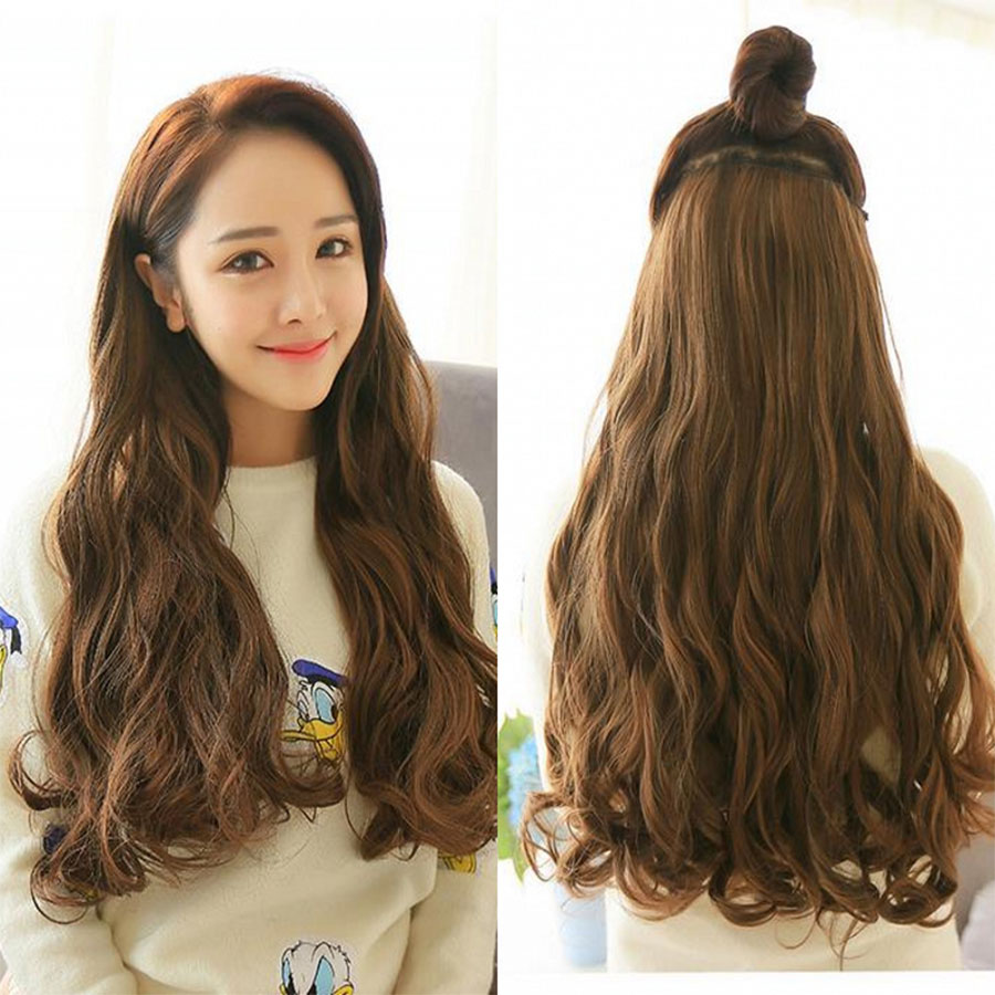Longa ondulado feminino penteado 6 grampos na extensão do cabelo resistente ao calor sintético falso cabelo peças headwear
