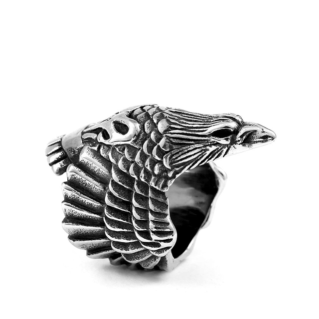 BEIER Drop Ship 316L Stainless Steel Biker Jewelry For Man High Quality Cool Punk 3D Eagle head Animal Ring gift BR8-436