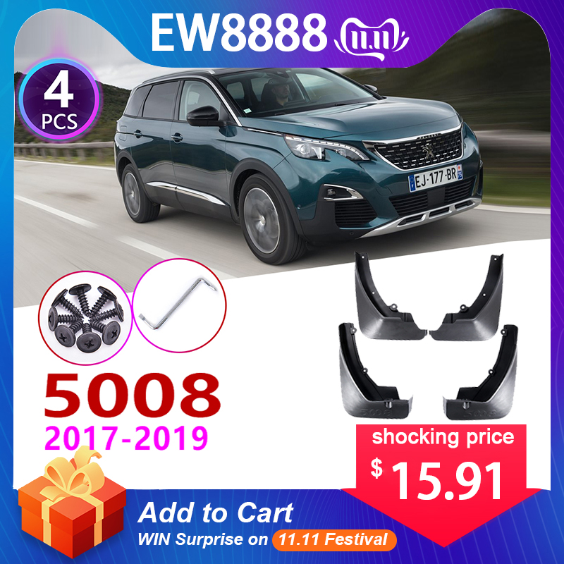 4 PCS Front Rear Car Mudflap for Peugeot 5008 2017 2018 2019 Fender Mud Guard Flap Splash Flaps Mudguards Accessories 2nd 2 Gen-in Car Stickers from Automobiles & Motorcycles