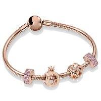 NEW 100% 925 Sterling Silver Rose Gold Flashing Hollow Elegant Charm Crown Beaded Women Bracelet Set Original Jewelry ZT0246