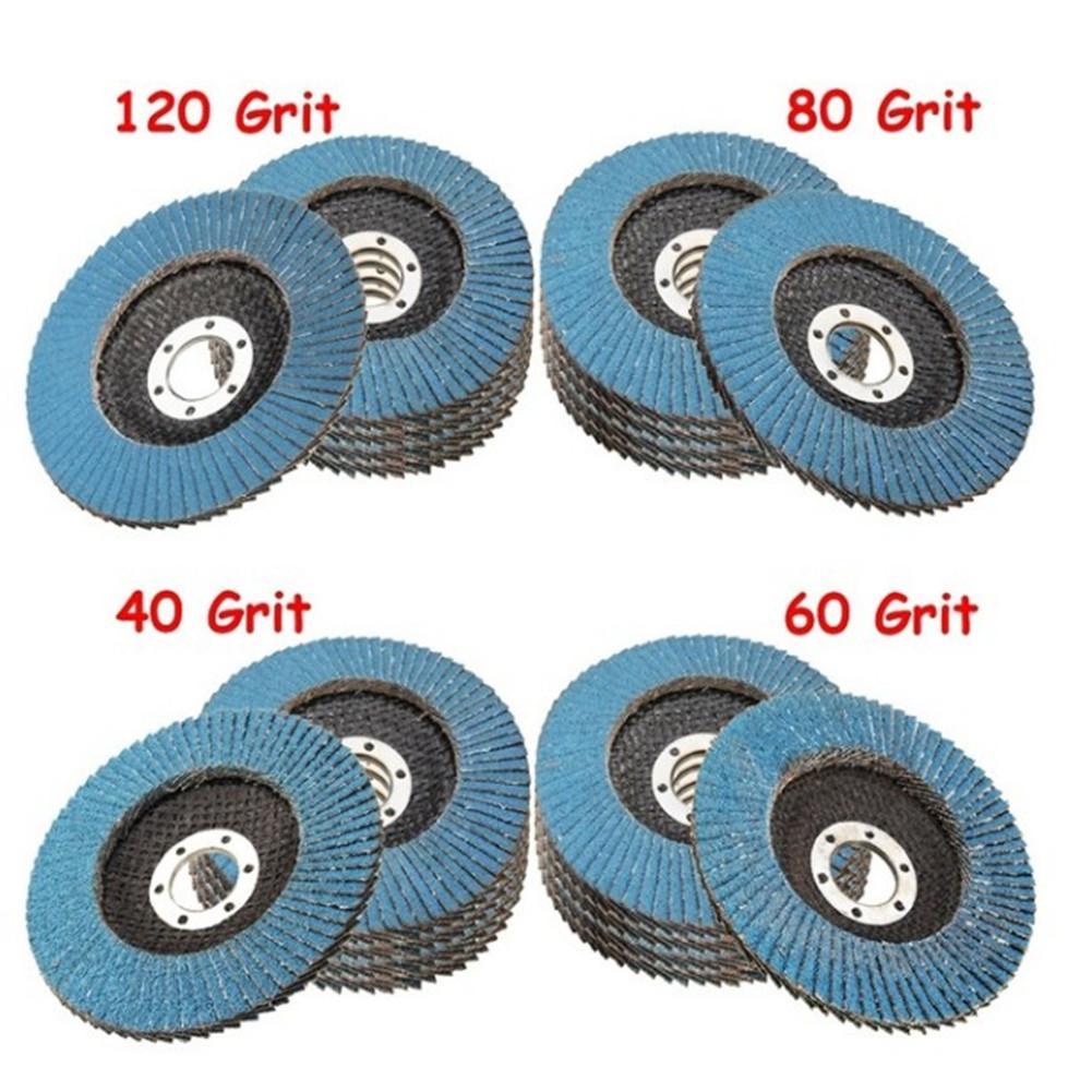 10 Discos de lijado profesionales para amoladora angular, 115mm, 4,5, 40/60/80/120