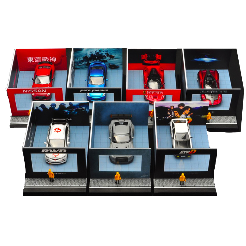 1 64 Car model Storage dustproof display box Window display Stand scene simulation Decoration painting Vehicle model accessories in Model Accessories from Toys Hobbies