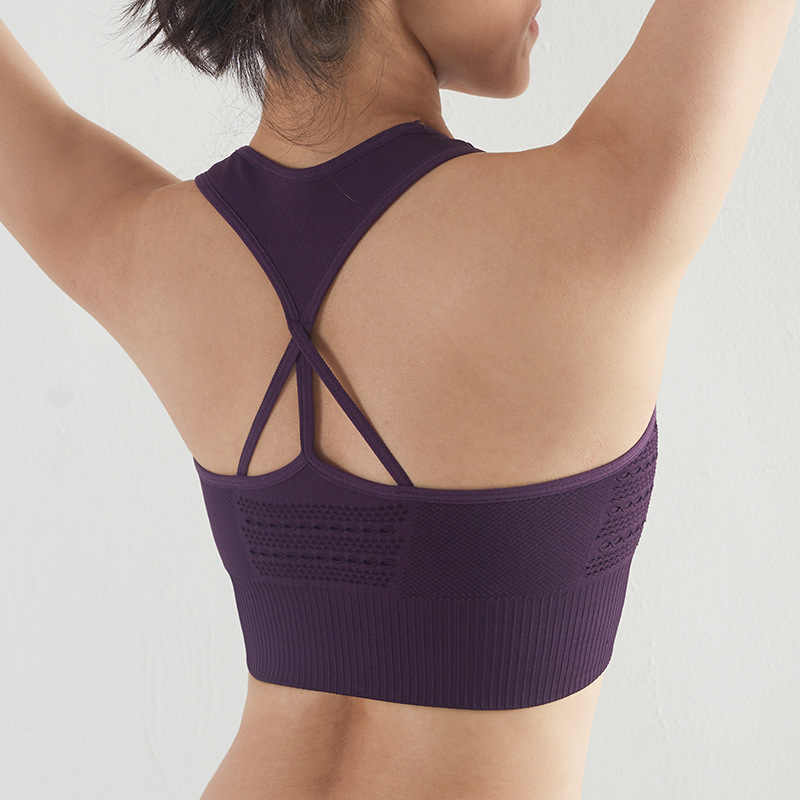 2019 Women Sports Bras Solid Wire Free Yoga Bra Shockproof Fitness Tops Running Gym Tank Top Female Breathable Sport Bra
