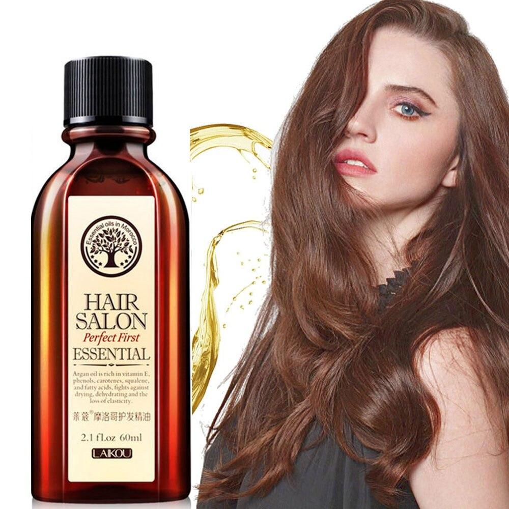 Soins multifonctionnels de cheveux et de cuir chevelu de marque 60ml soins capillaires huile essentielle marocaine Pure d'huile d'argan pour les cheveux secs