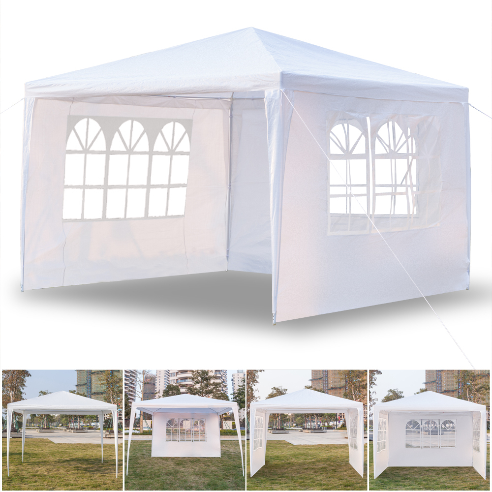 3 X 3m Three Sides Windows Waterproof Tent With Spiral Tubes Garden Lawn Windproof Canopy Outdoor Picnic Camping Gazebo