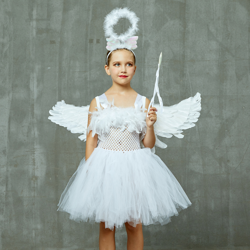 Guardian Angel Kids Halloween Costume White Feather Angel Girls Tutu Dress with Wings & Halo Christmas Nativity Gabriel Clothes (13) - 副本