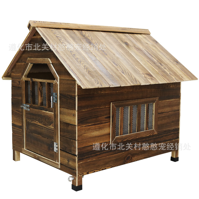 Kennel Outdoor Outdoors Doghouse Small In Large Dog Dog House Carbonization Cat Villa Pets Solid Wood Dog Cage image