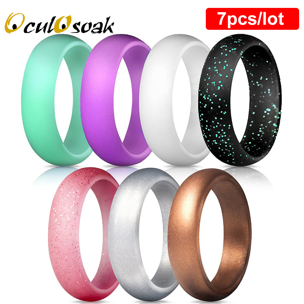 7pcs/set 5.7mm Silicone Ring Hypoallergenic Comfortable Food Grade FDA Sports Rings for Men Women Wedding Couple Finger Jewelry