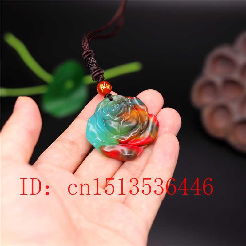 Cor chinesa jade rosa pingente flor colar charme jóias moda acessórios mão-esculpida amuleto presentes para mulher ela