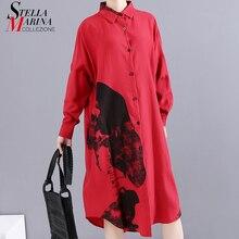 * ใหม่ 2019 ผู้หญิงเกาหลีฤดูหนาวสีแดงพิมพ์ชุดเสื้อแขนยาว Lapel ผู้หญิงเข่าความยาวชุด Midi สไตล์ robe 5818