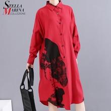 * New 2019 Korean Women Winter Red Printed Shirt Dress Full Sleeve Lapel Ladies Knee Length Casual Dress Midi Style Robe 5818