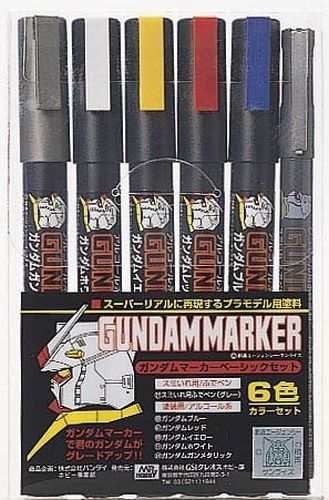 Mr  Hobby Gundam Marker GMS105 Basic Set  6pcs  HG MG PG Color Pen GSI Creos Action Model Kit
