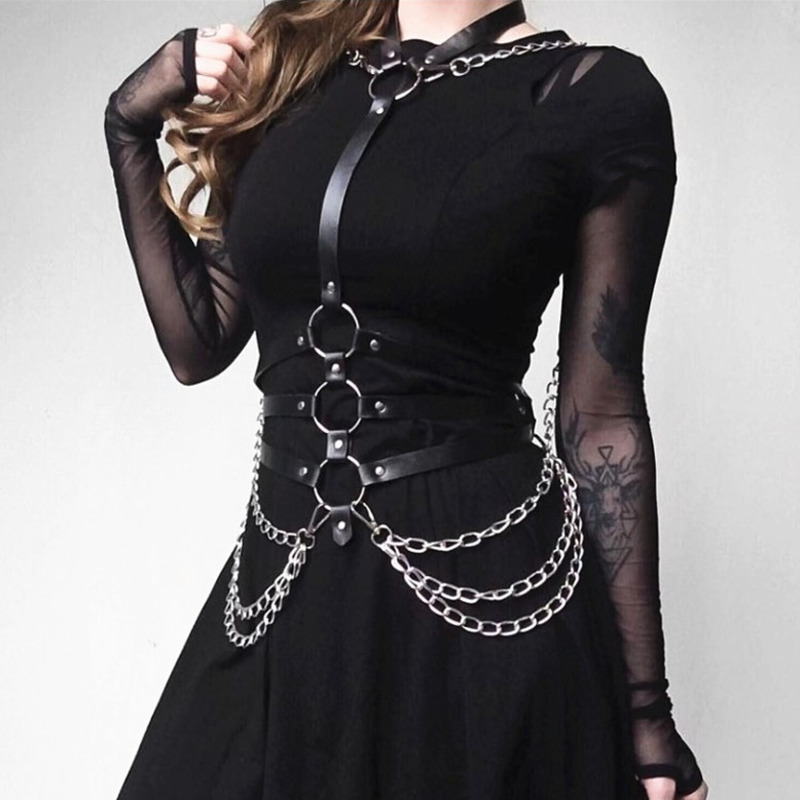 2020 New Design BDSM Bondage Stylish Solid Black Metal Alloy Leather Belts For Women Chains Corset Belt Female Hot Sale ZK783